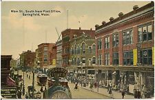 Main Street South From Post Office in Springfield MA Postcard 1911