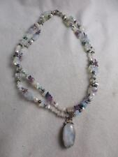 HM 925 STERLING MULTI GEMSTONE & PEARL DBLE STRAND NECKLACE & MOONSTONE PENDANT