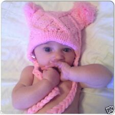 PINK BABY HAT KNIT BABY BRIGHT POM-POM SACK HAT ~ PINK BABY HAT 0 - 12 MONTH