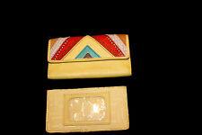 Vintage Fossil Leather Wallet Chevron Yellow Checkbook Organizer EUC