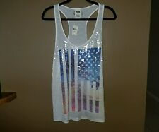 NWT=VICTORIAS SECRET PINK bling sequins/graphic print Tank top Large $39