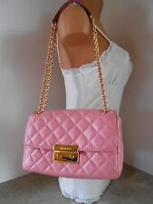 New MICHAEL KORS Sloan Large Quilt Chain Patent Shoulder Bag $298 MISTY ROSE