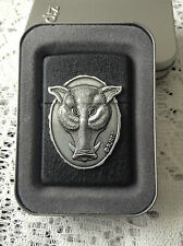 ZIPPO BOAR'S HEAD IN BLACK CRACKLE NEW