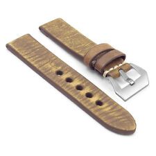 StrapsCo EXTRA LONG Leather Watch Band Strap w Matte Steel Pre-V Buckle