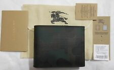 NWT $450 Burberry London Check Hipfold Bi Fold Wallet, Chocolate Camo