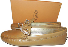$495 Tods Flat Beige Leather Driving Loafer Bow Moccasins Shoe 42-11