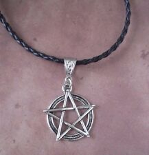 Pentagram Pendant Pentacle Supernatural Braided Leather Necklace Wicca Pagan