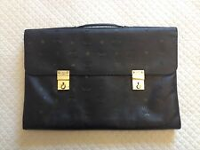 Authentic MCM Logos Attache Briefcase Hand Bag Black PVC Leather- Germany
