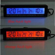 Multi Color Led Car In/Out Digital Clock Thermometer Volt Gauge 12/24V Voltmeter
