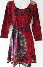 New Desigual Ladies Dress'YOLANDA'Full Sleeve,RED,Size XL