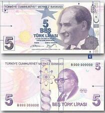 TURKEY NEW 5 LIRA 2009 / 2013 UNC P.222b (PURPLE COLOUR)