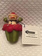Blossom Bucket Small Snowman CUPCAKE Holiday Christmas Resin Winter Decor CUTE!
