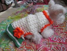 Dog Apparel WHITE AND BRIGHT ORANGE Dress w/GREEN STRIPE Skirt SMALL