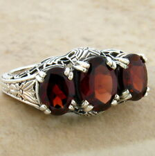 GENUINE GARNET 3 STONE 925 STERLING SILVER ANTIQUE STYLE RING SIZE 10,   #249