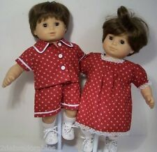 MATCHING Paw Print Doll Clothes Boy Set & Girl Dress For Bitty Baby Twins (Debs)