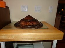 Vintage Beautiful Asian Cone Sun Hat -Woven Wood Head Piece Ties with wood beads