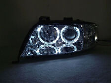 Depo 02-04 Audi A6 C5 White LED Halo Chrome D2S HID Xenon Projector Headlight