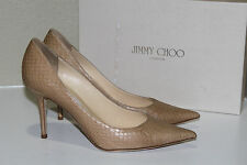 New sz 8.5 / 38.5 Jimmy Choo Agnes Nude Leather Pointed Toe Classic Pump Shoes