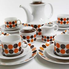 Winterling Porzellan Kaffee Service 21tlg Dots 70er Pop art Orange retro 2039