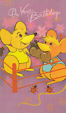 Vintage 1970s Children's Happy Birthday Greeting Card ~ Mouse Boxing Match