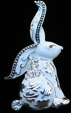 SILVER WHITE RHINESTONE SPRING STANDING LEAF EASTER BUNNY RABBIT PIN BROOCH