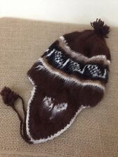 Inter-American Trading Brown Alpaca Wool Ski Winter Nordic Beanie Hat Cap EUC