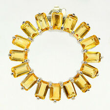 Sterling Silver 925 Genuine Natural Emerald Cut Golden Citrine Circular Pendant