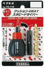 VESSEL / CUSHION GRIP 4 WAY STUBBY DRIVER / TD-110 / MADE IN JAPAN