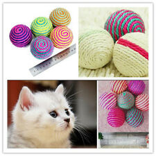 Funny Cat Kitten Sisal Rope Ball Teaser Play Chewing Scratch Catch Toy