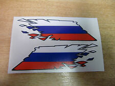 "Russian Flag ""ripped"" style stickers - 150mm decals x2"