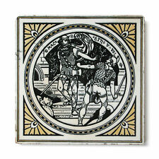 Antique Victorian Tile Mintons Shakespeare Macbeth Moyr Smith Black White Yellow