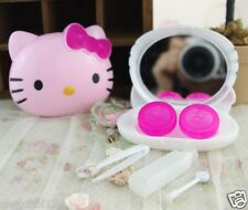New Hello Kitty Head Shaped Pink Contact Lens Case Travel Set KK114