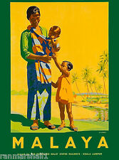 Malaya Malaysia Vintage Travel Advertisement Art Poster