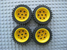Lego 13x24 Technic Wheels LOT OF 4 Tires with Yellow Rims Construction Car Truck