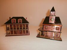 "Vintage 5"" Handcrafted Chinese Bamboo Lacquer Wood Buildings Trinket Box Lot (2)"