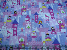 3 Yards Quilt Cotton Fabric - Timeless Treasures Princess Castle Pinks Purples
