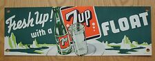 "Vintage 1950""s  Fresh up With  7 UP Litho Fountain Paper Banner NOS"