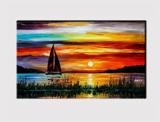 320 X LARGE CANVAS 18''x 32'' WALL ART BOAT SUNSET LAKE COLORS PRINT PICTURE