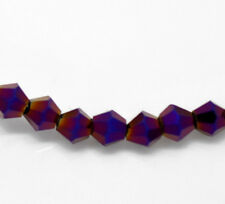 1 STRAND DARK PURPLE CRYSTAL FACETED BICONE BEADS ~4mm~ APPROX 115 BEADS  (41C)