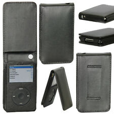 Premium Flip Case Cover Screen Protector for iPod Classic Style 80G 120G - Black