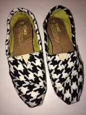 Toms Women's Shoes Slip In Size 7 Black and White Houndstooth Wool Flat Heel