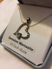 Sterling Silver And  Marcasite Heart Pendant Necklace With CZ Solitaire-NEW
