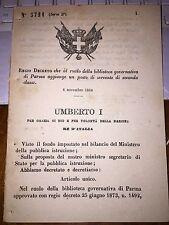 REGIO DECRETO BIBLIOTECA GOV PARMA  AGGIUNGE POSTO DI SERVENTE  SECONDA CLASSE