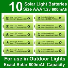 10 x AAA 1.2V 600mAh NiMH Rechargeable Batteries for Garden Solar Lights (NiCd)