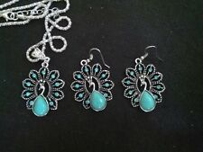 Gemma Lovely Peacock Turquoise Stone Pendant Necklace Chain Earrings Set