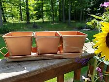 Vintage Rustic Copper Garden Herb Flower Vegetable Planter Box Tray  Plant Decor