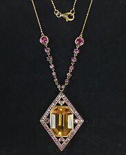 $3740 LeVian Citrine, Rhodolite Garnet Necklace 14K Gold 20.25 Cts. of Gems