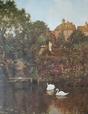 Old Guildford, River Wey - Edward Wilkins Waite - 76x51cm, vintage mill print