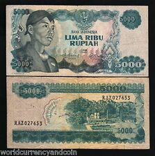 INDONESIA 5000 RUPIAH P111 1968 SUDIRMAN CEMENT PLANT CURRENCY MONEY BILL NOTE