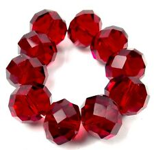 14x10mm Ruby Red Glass Quartz Faceted Rondelle Beads (10)